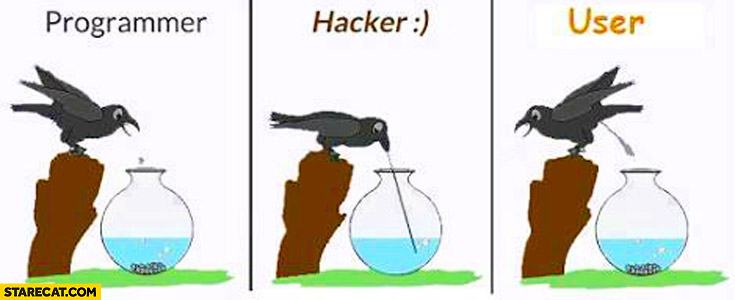 Programmer, hacker, user as a bird comparison
