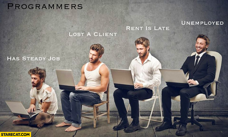 Programmers: has steady job, lost a client, rent is late, unemployed