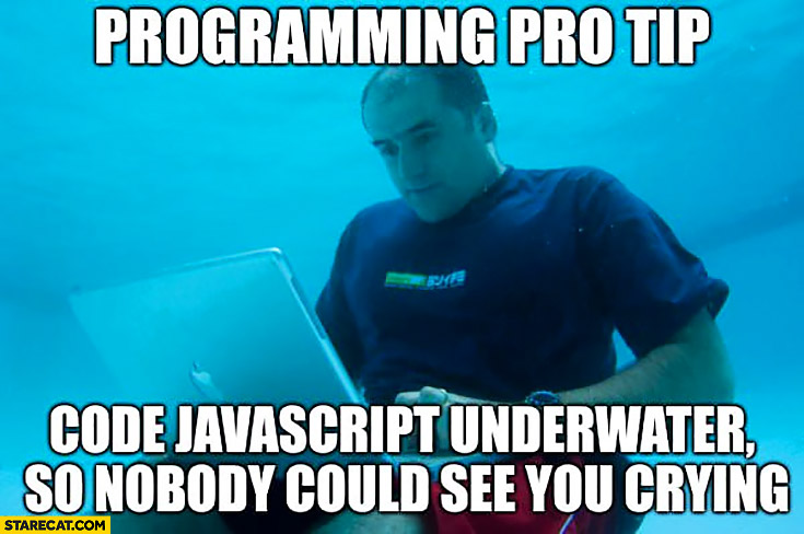 Programming pro tip code JavaScript underwater so nobody could see you crying