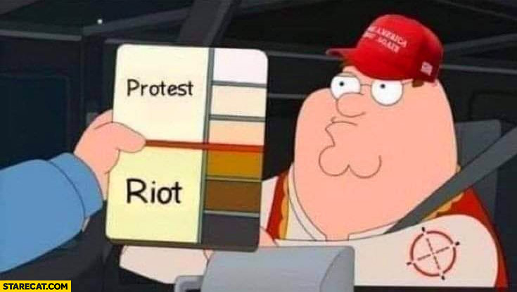 Protests vs riots skin color detection Family Guy