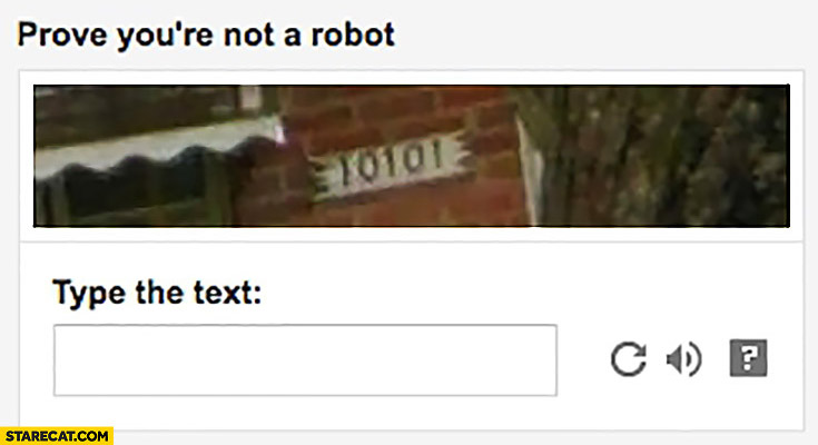 Prove you're not a robot type the text 10101 captcha