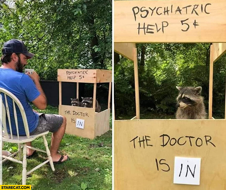 Psychiatric help 5 cents the doctor is in raccoon