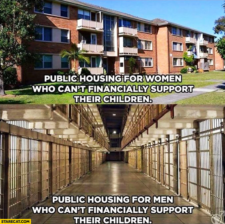 Public housing for women who can't financially support their children for men prison