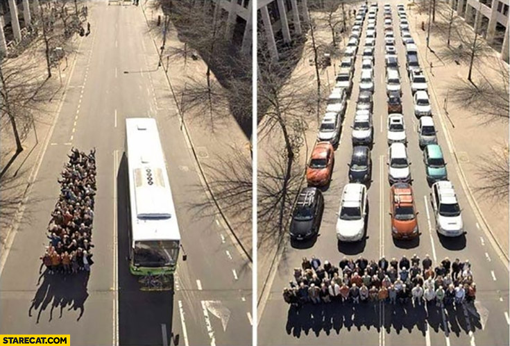 Public transport vs cars comparison how much space it takes