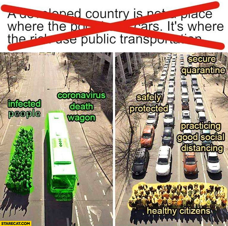 Public transport vs cars infected people coronavirus death wagon vs safely protected by secure quarantine healthy citizens