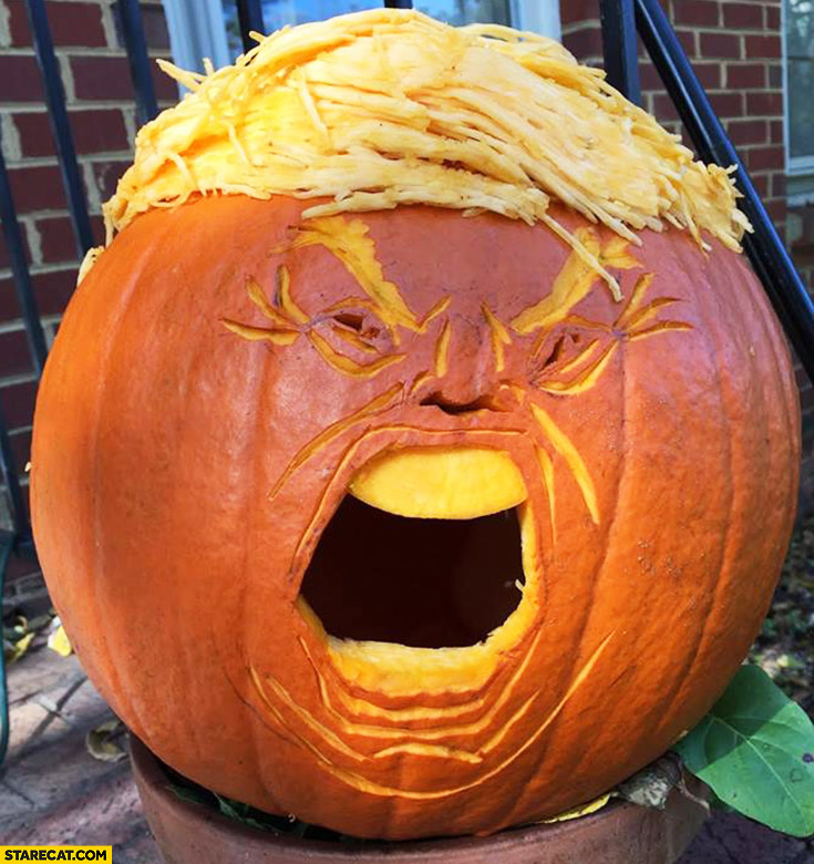 Pumpkin looking like Donald Trump face