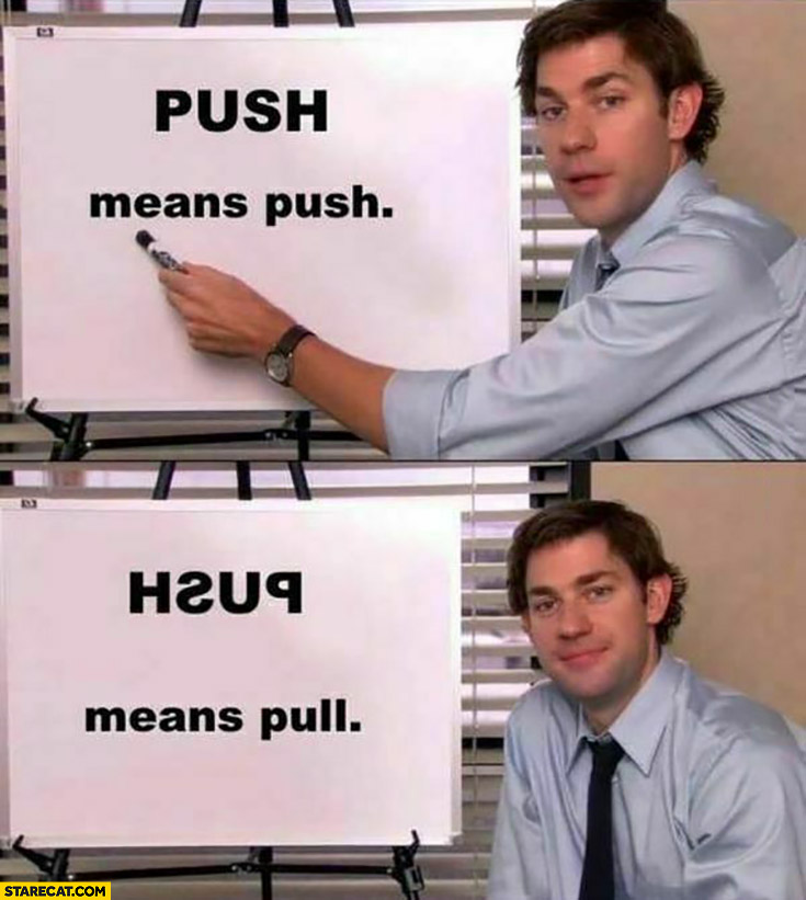 Push means push, but push written backwards means pull the office