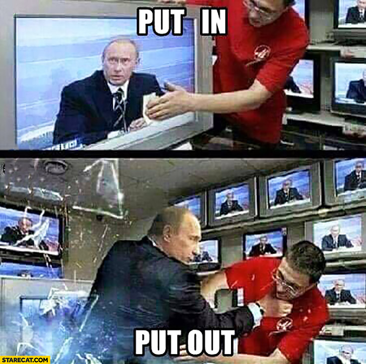 Put in, put out Vladimir Putin inside a TV breaks out
