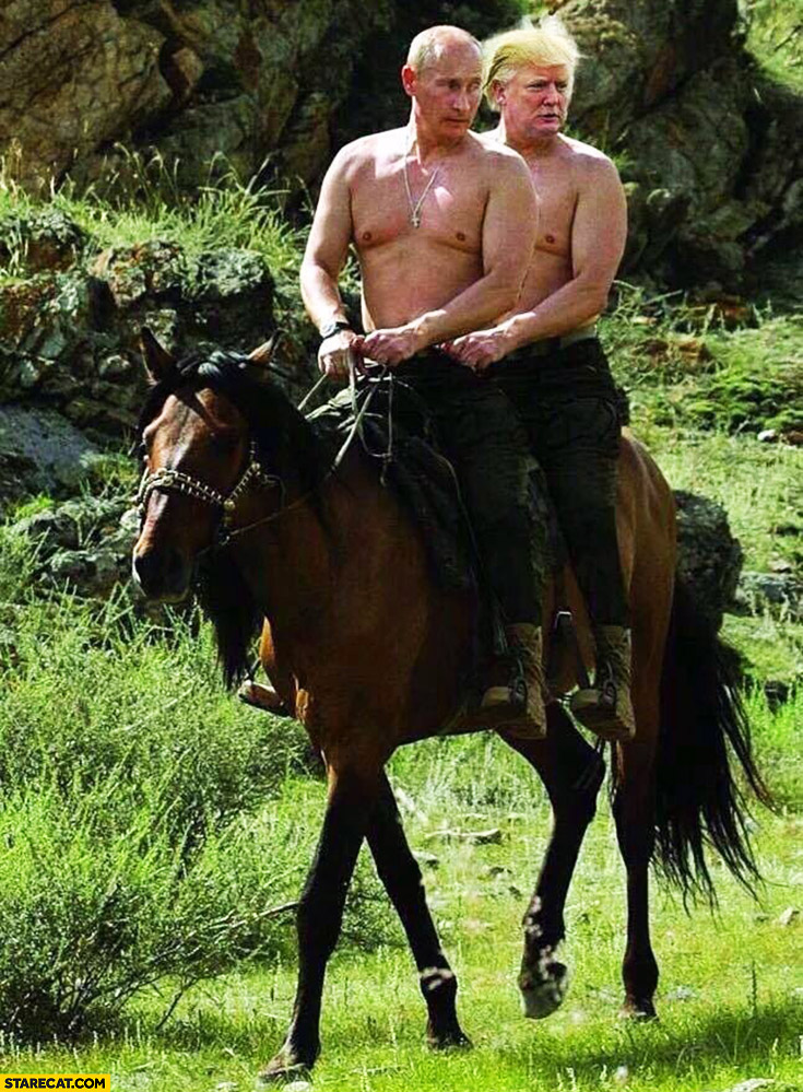 Putin and Trump riding one horse together with naked chests