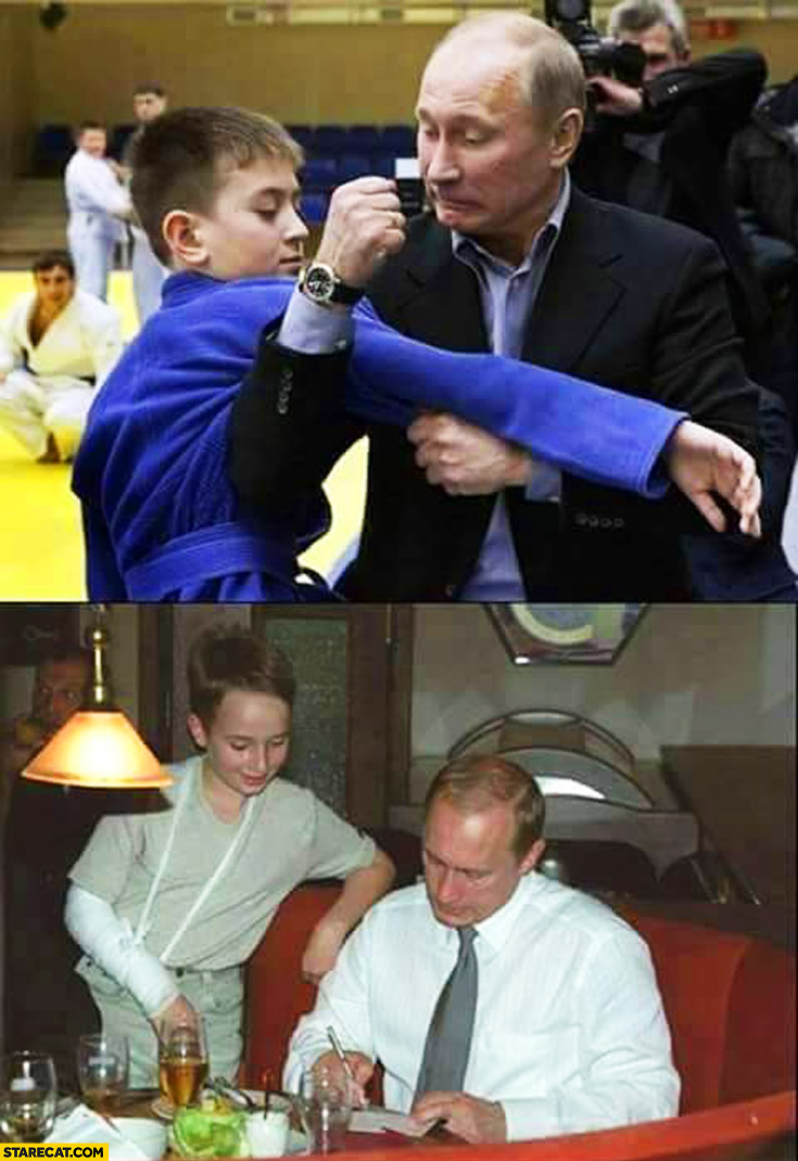 Putin breaking kid's arm then signing autograph