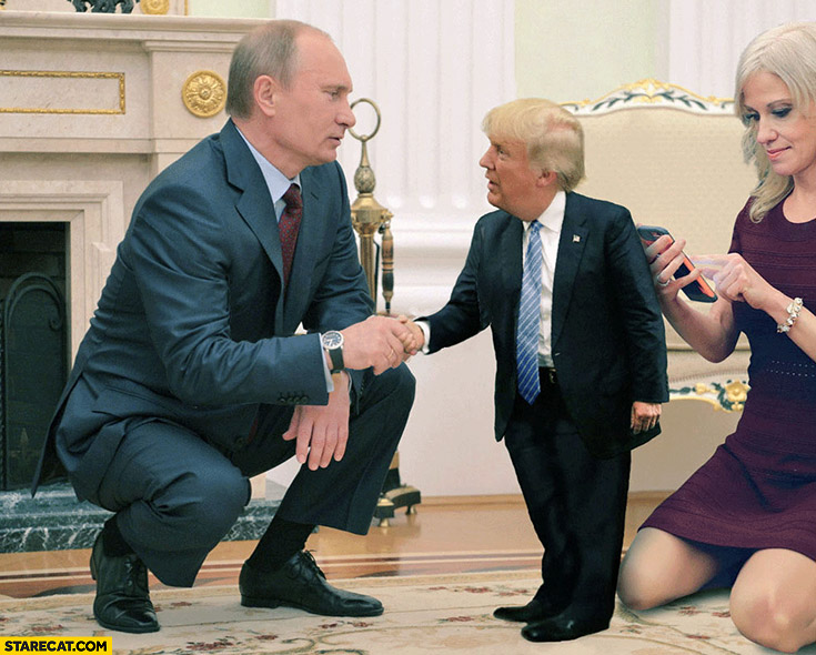 Putin handshake with small baby Trump photoshopped
