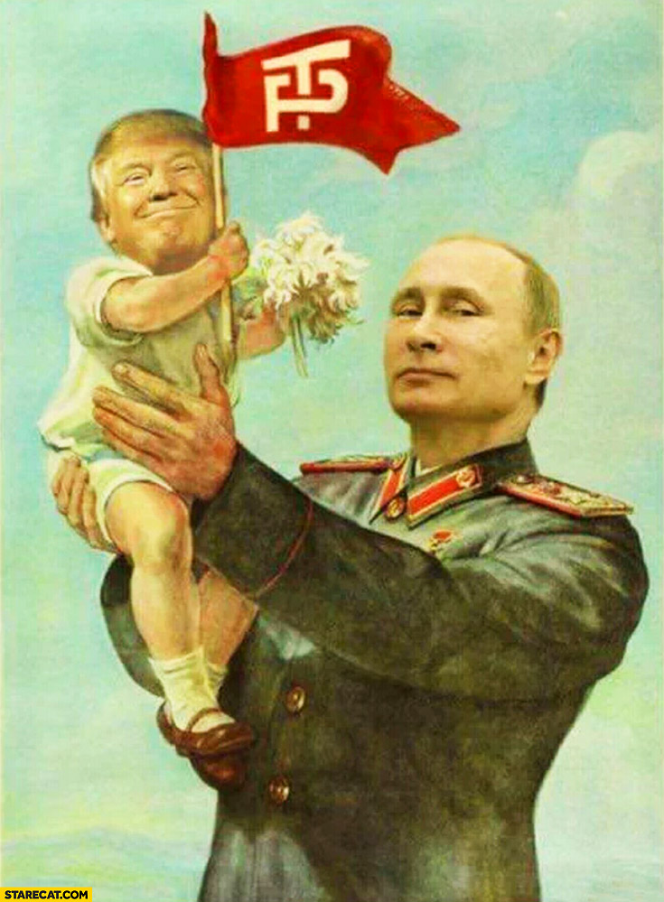 Putin holding baby Donald Trump photoshopped painting