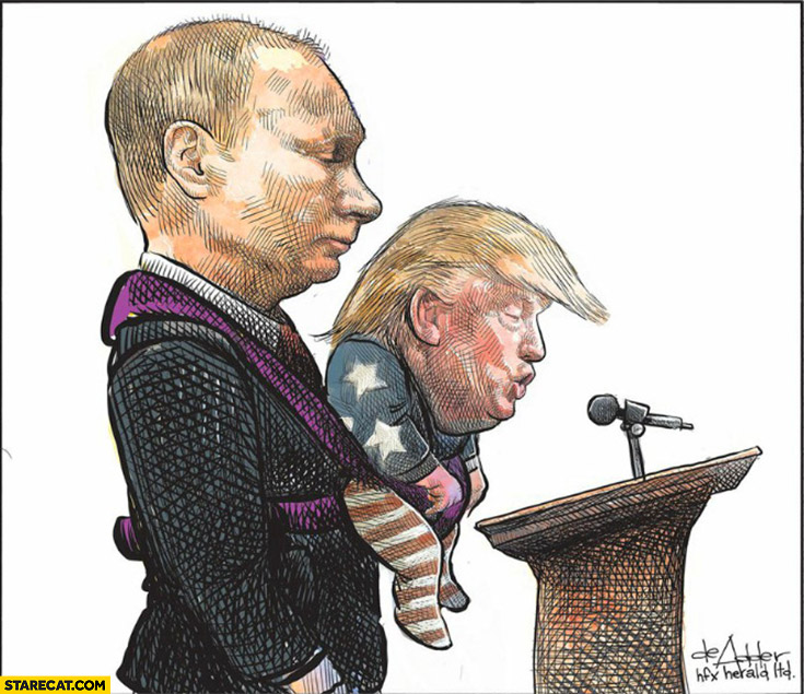 Putin holding baby Trump while he is making a speech