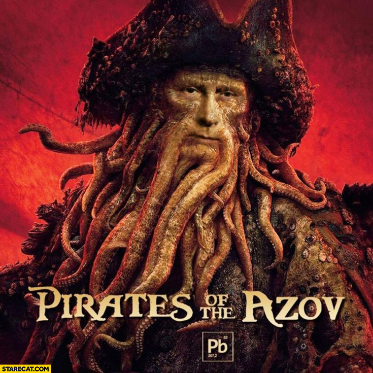 Putin Pirates of the Azov meme photoshopped