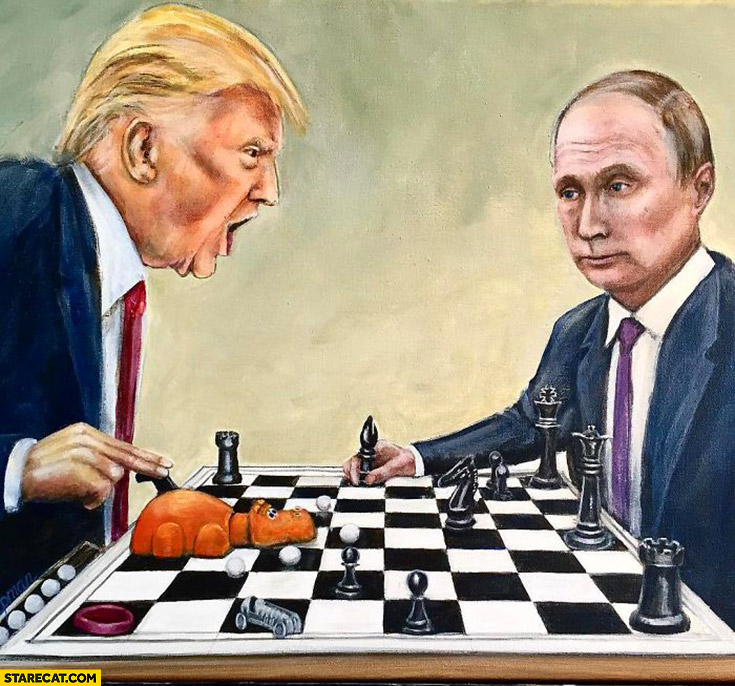 Putin playing chess with Trump drawing