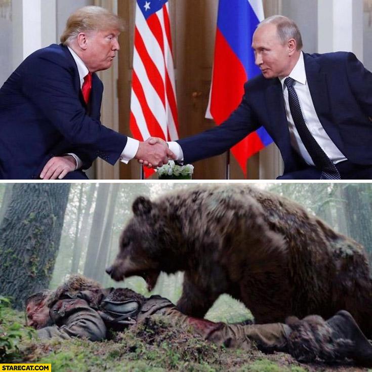 Putin Trump handshake looks like playing with an angry bear