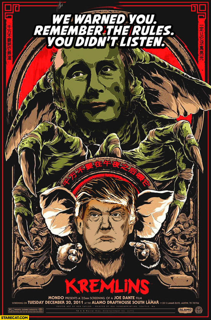 Putin Trump Kremlin's movie poster we warned you remember the rules you didn't listen