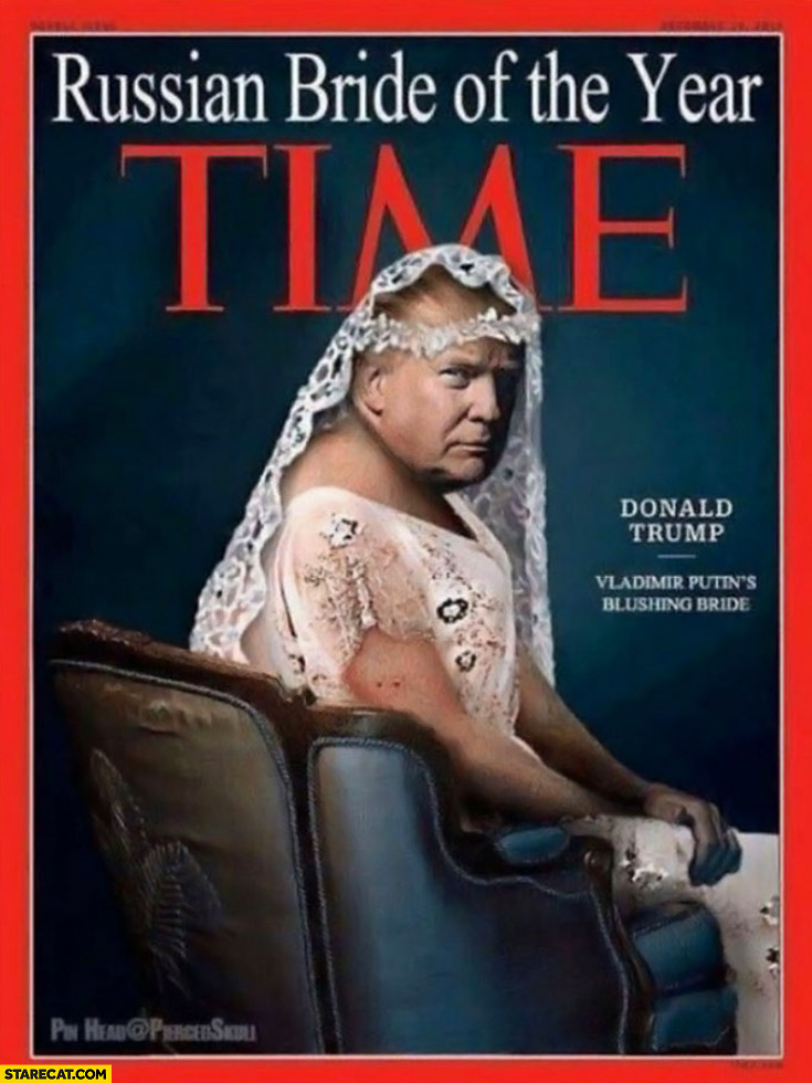 Putin Trump Time cover Russian bride of the year