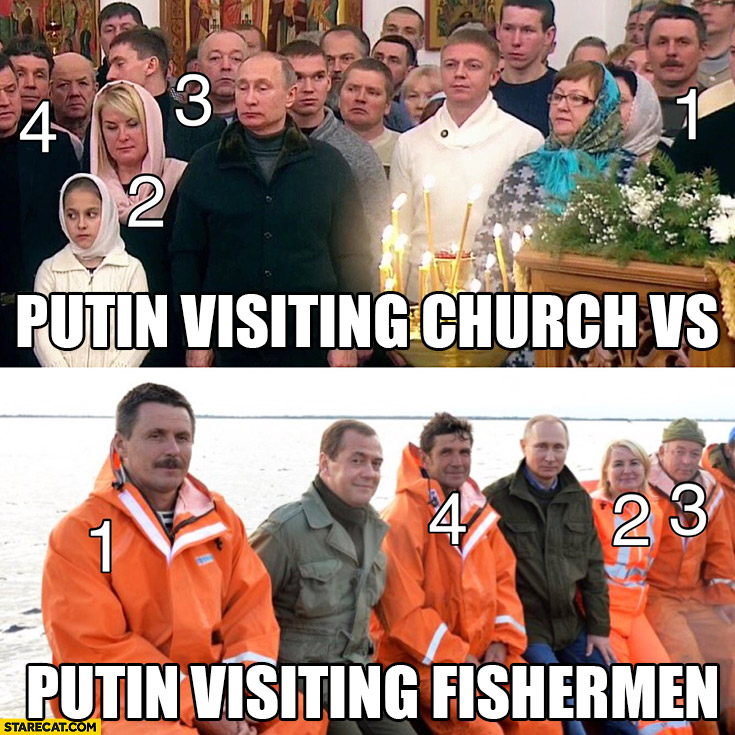 Putin visiting church vs Putin visiting fishermen. Same people in both pictures comparison