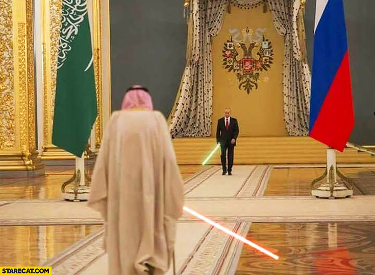 Putin vs Arab Saudi Arabia lightsaber fight light sabers