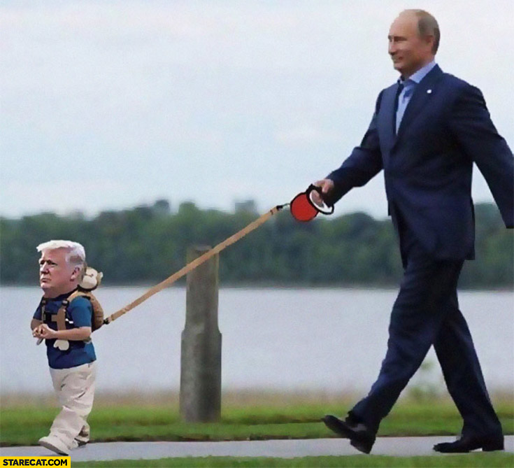 Putin walking baby Trump on a leash photoshopped