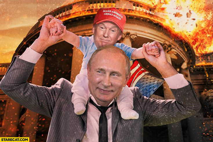 Putin with baby Trump on his back photoshopped