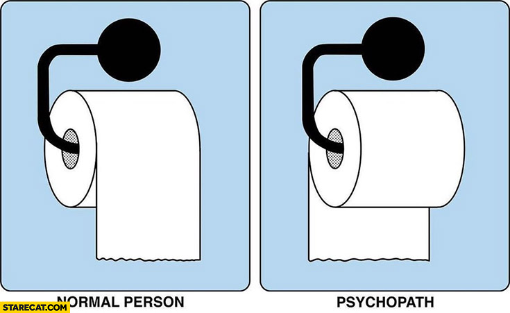 Putting toilet paper right way normal person wrong way psychopath