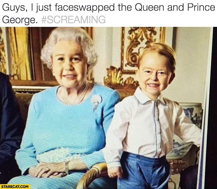 Queen Elizabeth and Prince George face swap
