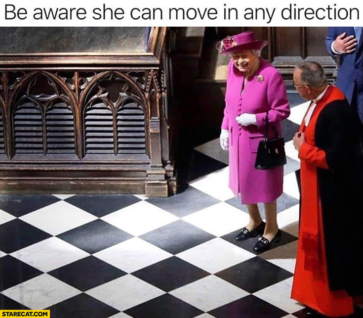 Queen Elizabeth be aware she can move in any direction chess
