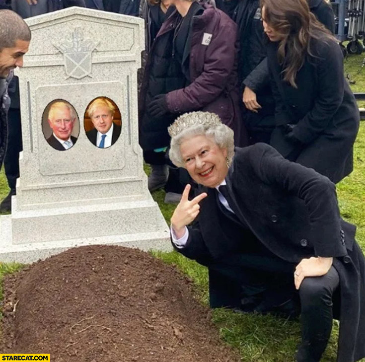 Queen Elizabeth laughing at Boris Johnson and Prince Charles grave