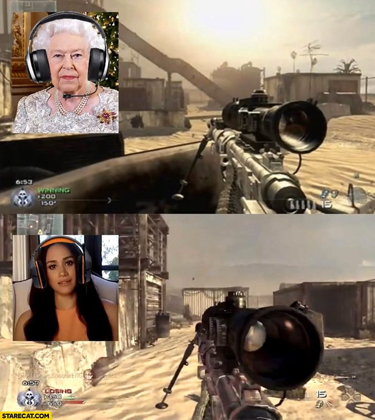 Queen Elizabeth vs Meghan Markle playing FPS shooter