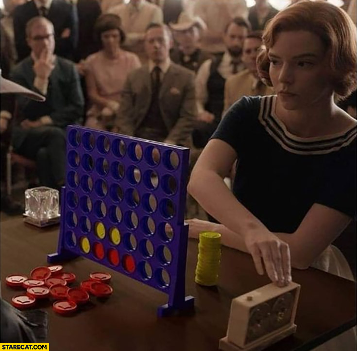 Queen's gambit playing connect four 4 instead of chess photoshopped meme Elizabeth Harmon