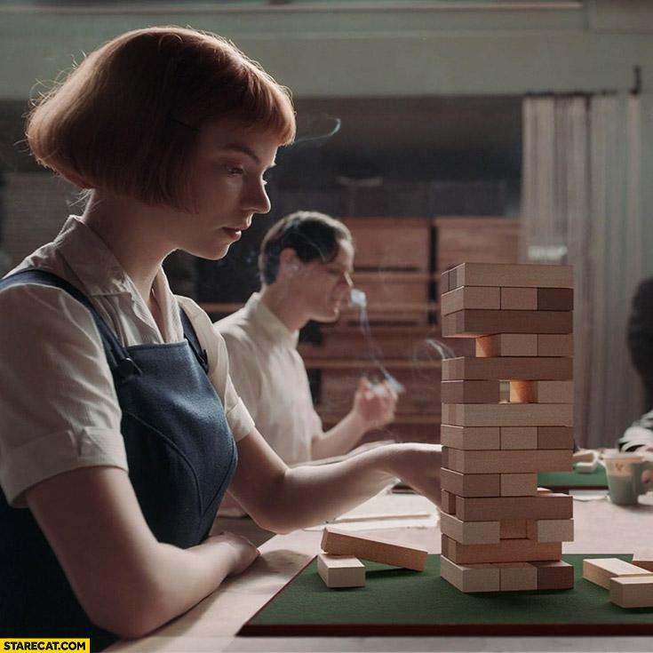 Queen's gambit playing jenga instead of chess photoshopped meme Elizabeth Harmon