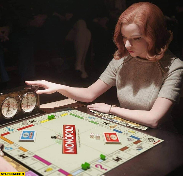 Queen's gambit playing Monopoly instead of chess photoshopped meme Elizabeth Harmon