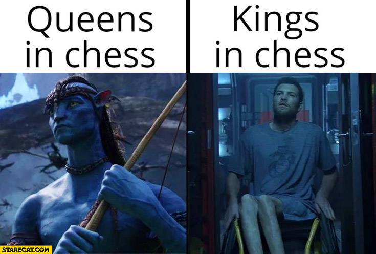 Queens in chess vs king in chess thin legs comparison