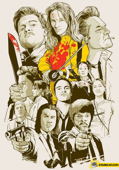 Quentin Tarantino movies cartoon collage