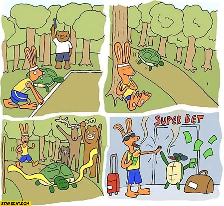 Rabbit vs turtle scam race bookmaker super bet deal to get rich comic