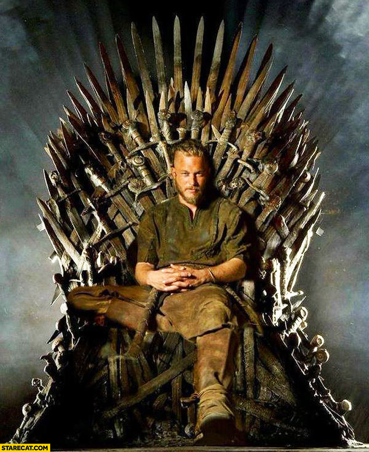 Ragnar viking on the iron throne Game of Thrones