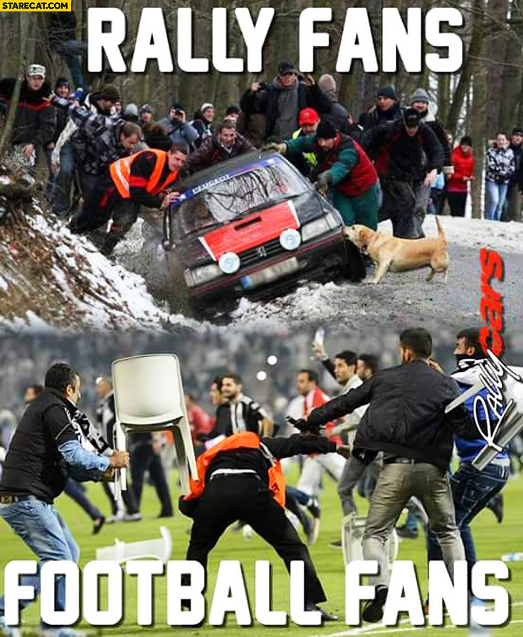 Rally fans helping football fans fighting comparison