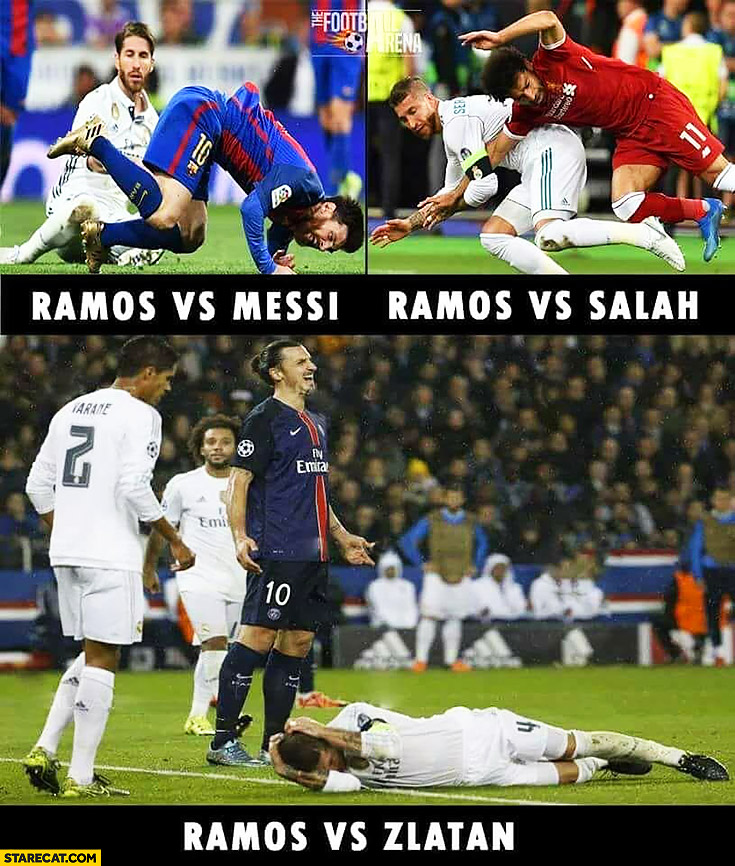 Ramos vs Messi, Ramos vs Salah, Ramos vs Zlatan comparison football fouls injuries