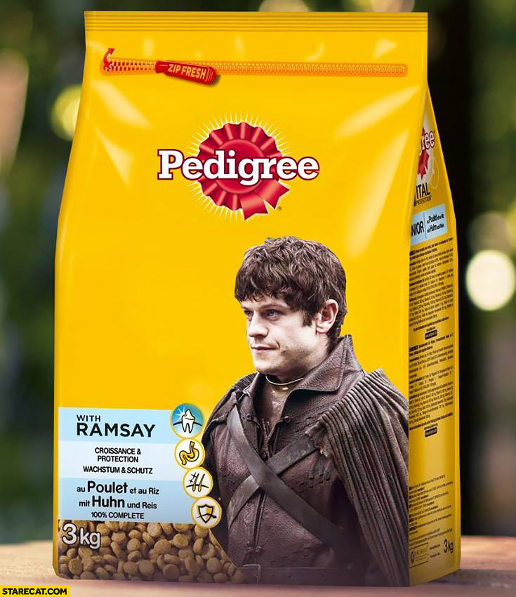 Ramsay Snow Pedigree pal package photoshopped Game of Thrones