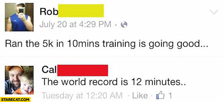Ran 5h in 10 minutes traning is going good. The world record is 12 minutes