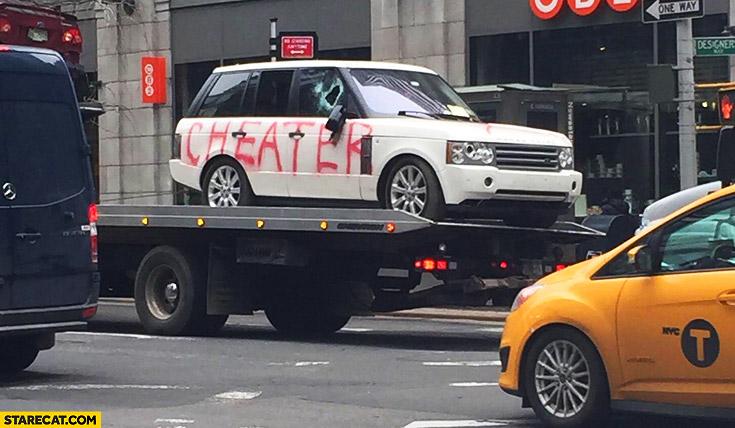 Range Rover sprayed cheater in NYC fail