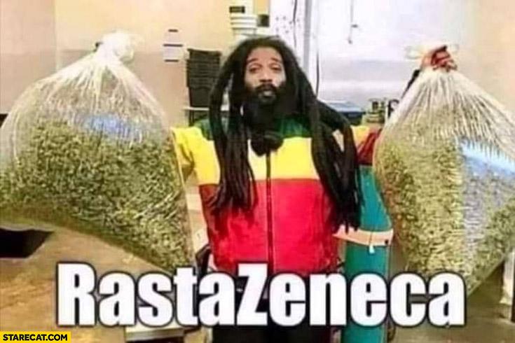 Rastazeneca man with weed marijuana Astrazeneca
