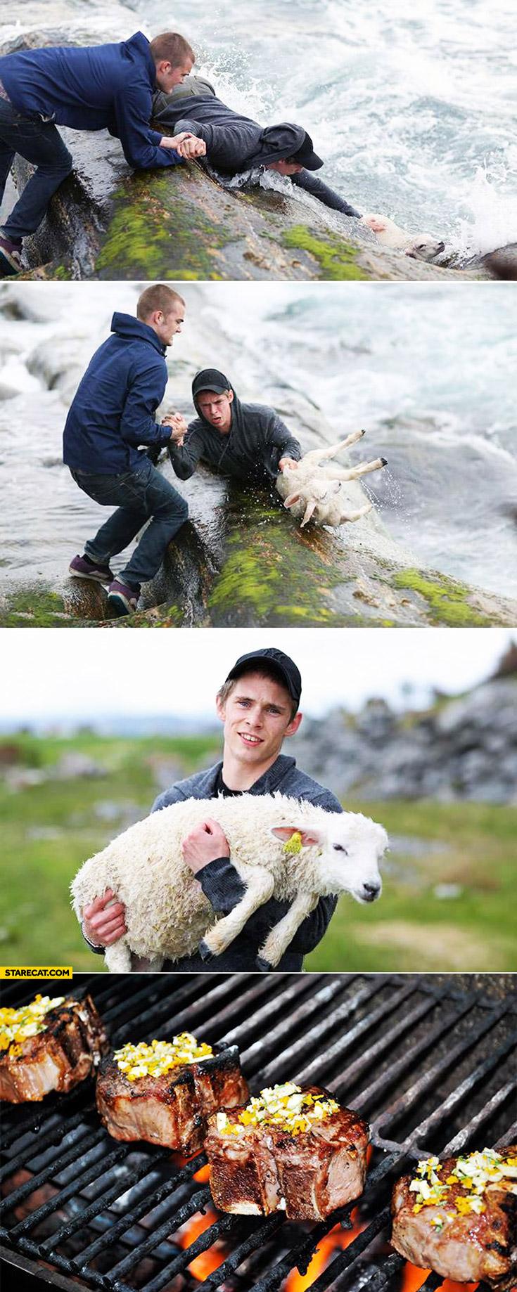 Real hero saves a sheep