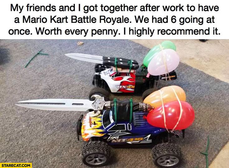 Real life Mariokart battles with RC cars sporting knives and balloons
