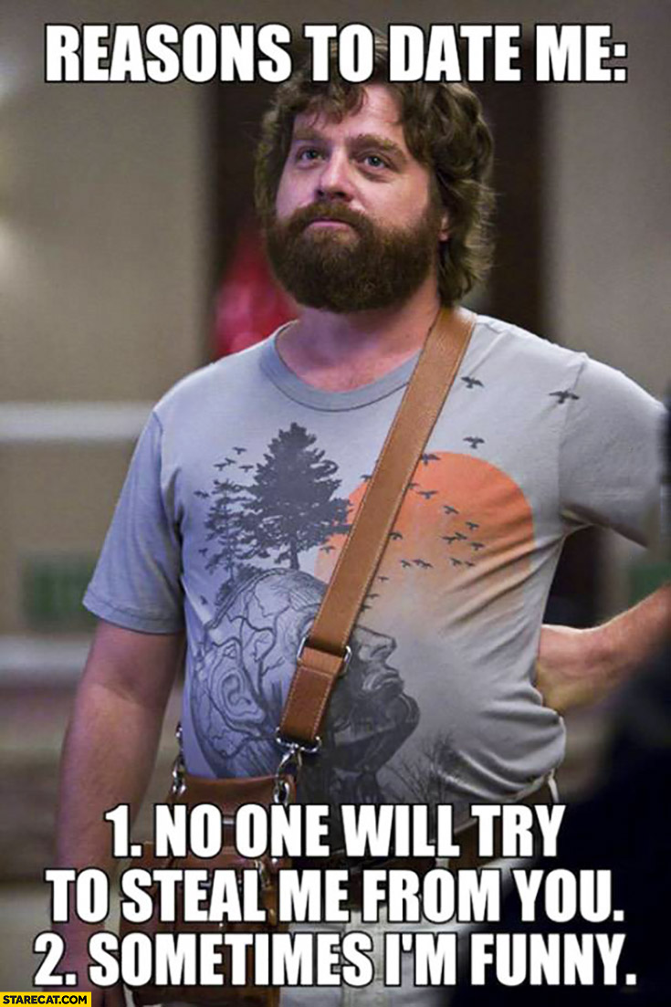 Reasons to date me: 1. no one will try to steal me from you 2. sometimes I'm funny Zach Galifianakis