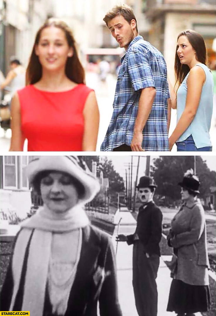 Red dress meme man staring at another woman old picture in the past