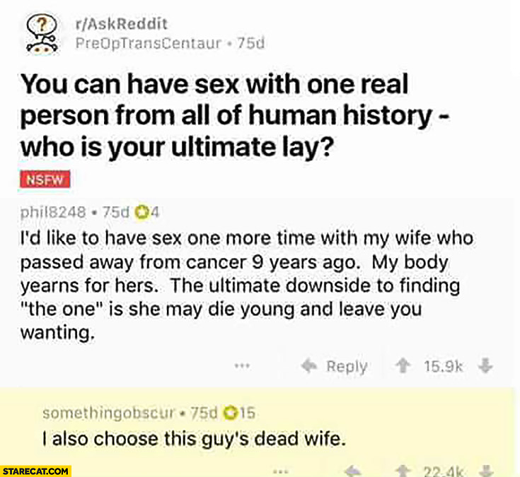 Reddit thread: one real person from all of human history who is your ultimate lay? I also choose this guys dead wife