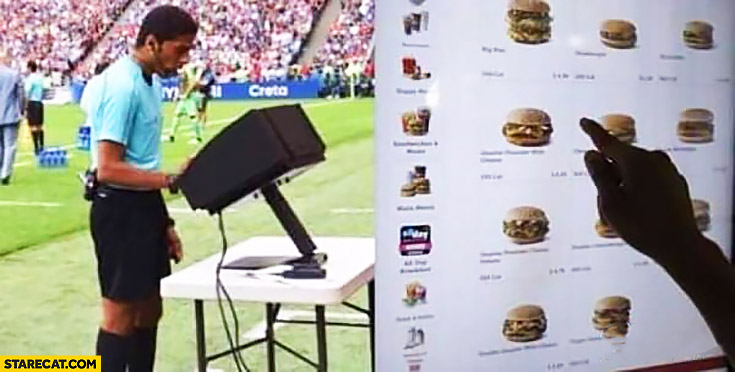 Referee checking VAR actually ordering food at McDonald's